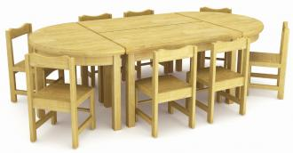 QX-196A wooden tables and chair set